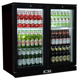 Coolpoint HX201 - Double Door Black Bottle Cooler - Hinged Doors